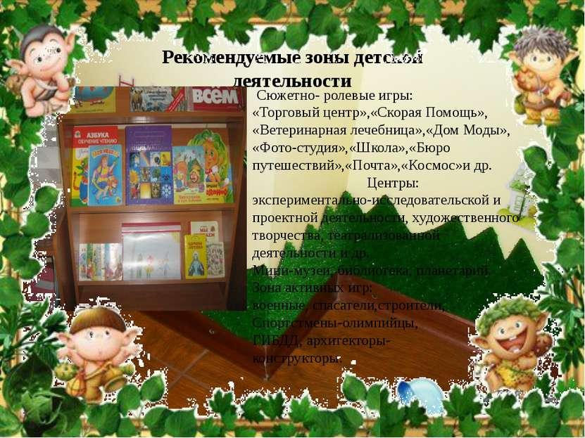 Рекомендуемые зоны детской деятельности Сюжетно- ролевые игры: «Торговый цент...