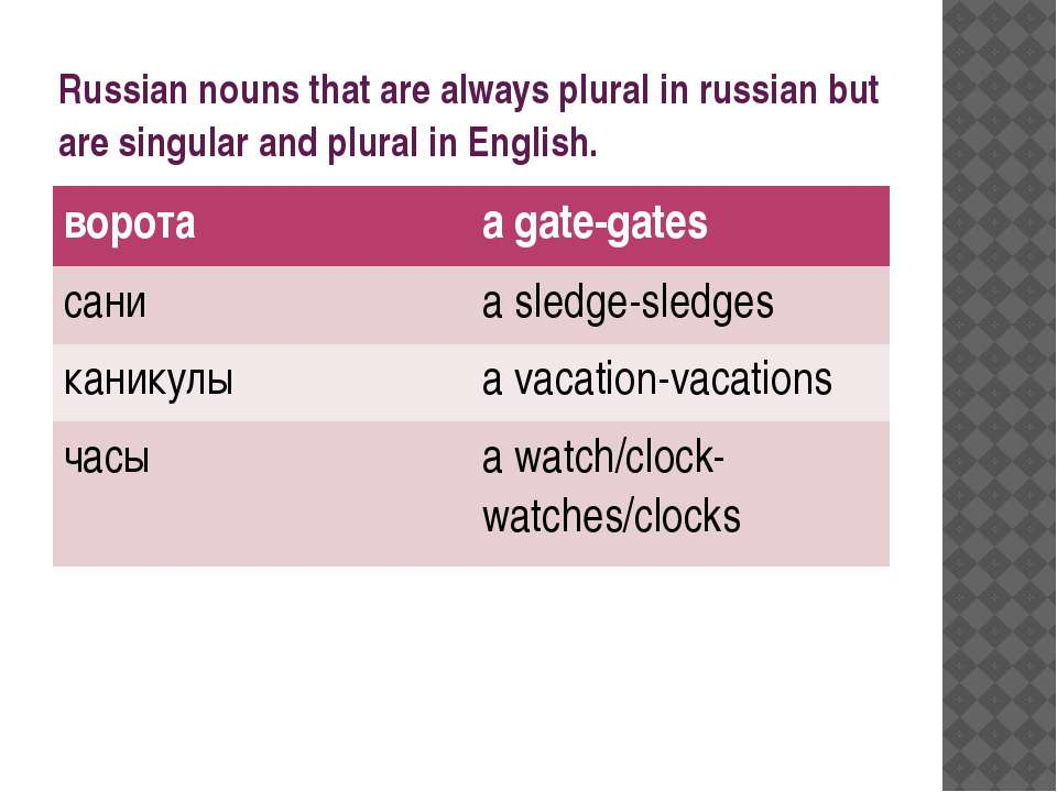 Russian nouns that are always plural in russian but are singular and plural i...