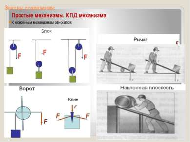 Законы сохранения: Простые механизмы. КПД механизма К основным механизмам отн...