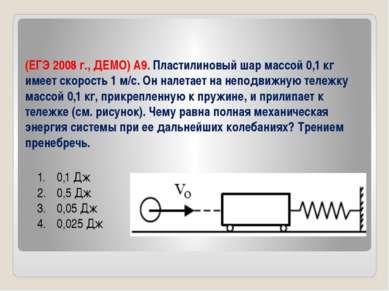 (ЕГЭ 2008 г., ДЕМО) А9. Пластилиновый шар массой 0,1 кг имеет скорость 1 м/с....
