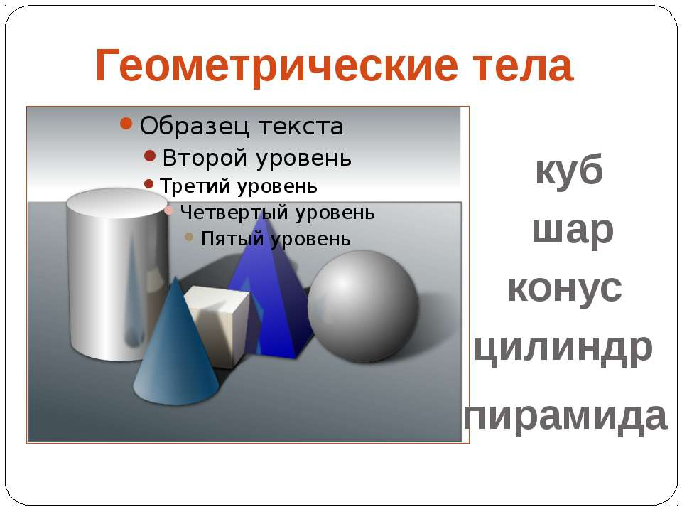 Геометрические тела куб шар конус цилиндр пирамида