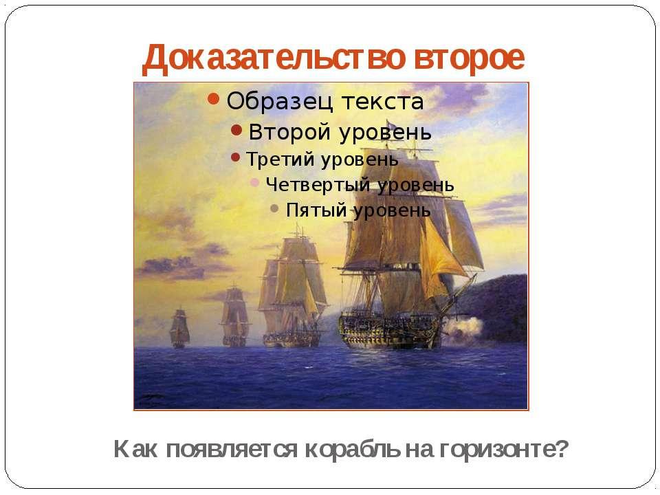 Доказательство второе Как появляется корабль на горизонте?