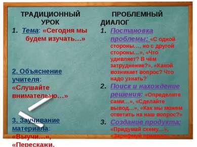 ТРАДИЦИОННЫЙ УРОК Тема: «Сегодня мы будем изучать…» 2. Объяснение учителя: «С...