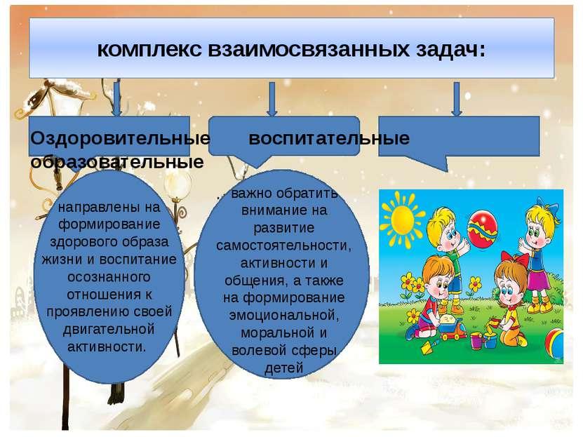 комплекс взаимосвязанных задач: Оздоровительные воспитательные образовательны...