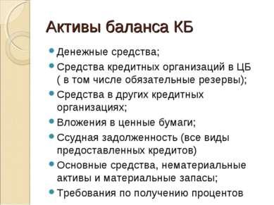 Активы баланса КБ Денежные средства; Средства кредитных организаций в ЦБ ( в ...