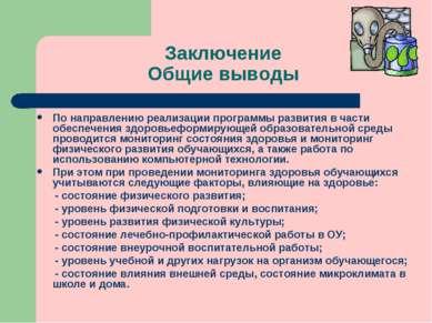 Заключение Общие выводы По направлению реализации программы развития в части ...