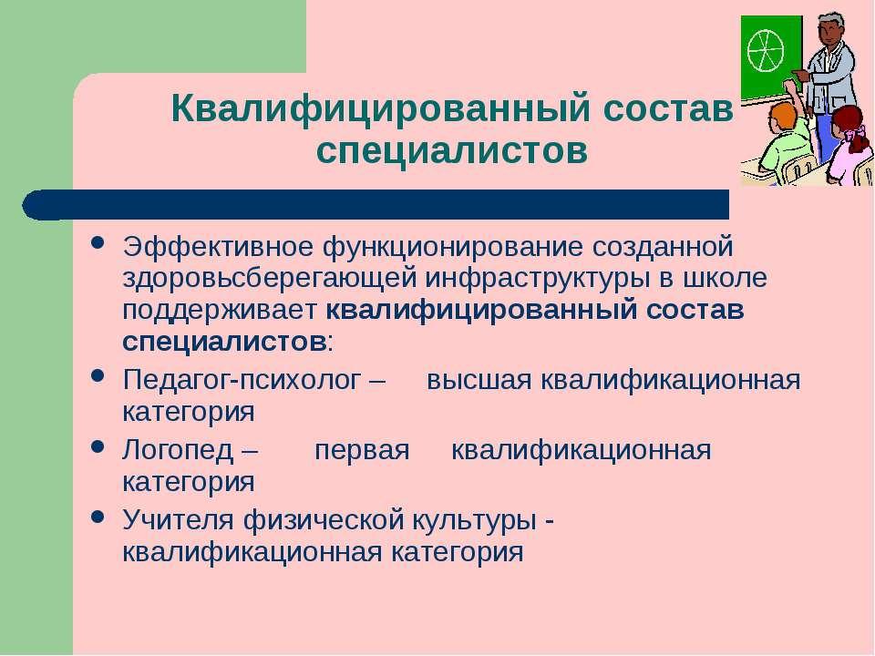 Квалифицированный состав специалистов Эффективное функционирование созданной ...