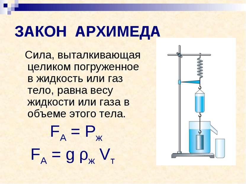 ЗАКОН АРХИМЕДА Сила, выталкивающая целиком погруженное в жидкость или газ тел...