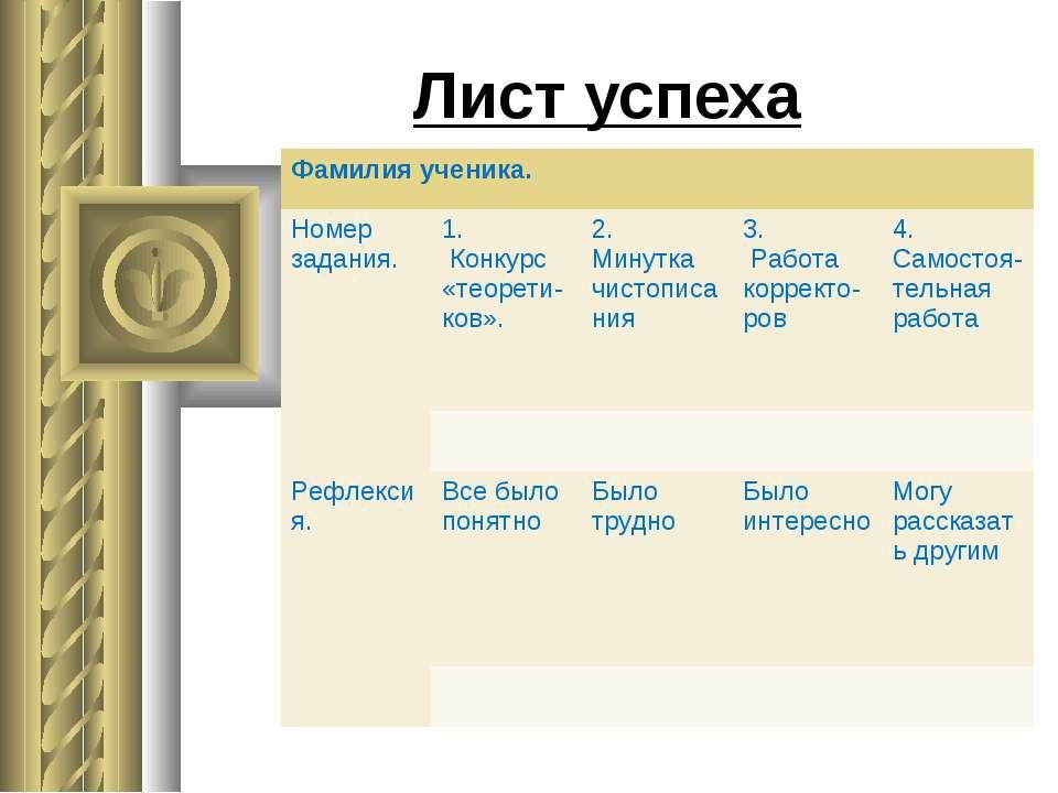 Лист успеха Фамилия ученика. Номер задания. 1. Конкурс «теорети-ков». 2. Мину...