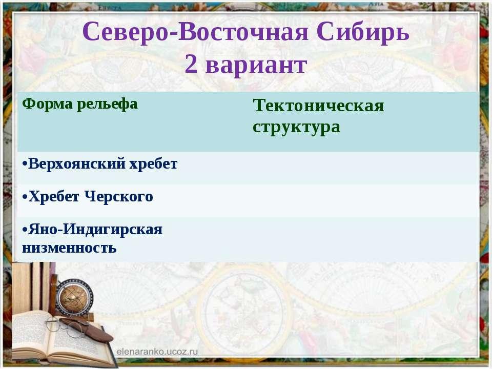 Северо-Восточная Сибирь 2 вариант Форма рельефа Тектоническая структура Верхо...