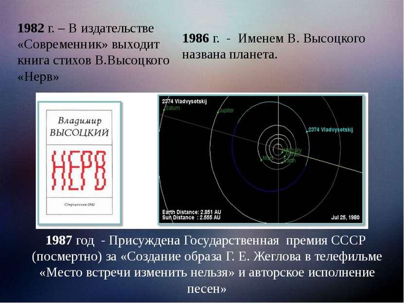 1987 год - Присуждена Государственная премия СССР (посмертно) за «Создание об...