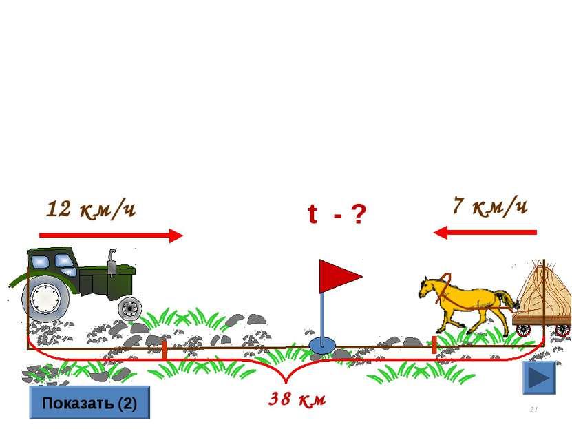 * 12 км/ч 7 км/ч Показать (2) 38 км t - ?
