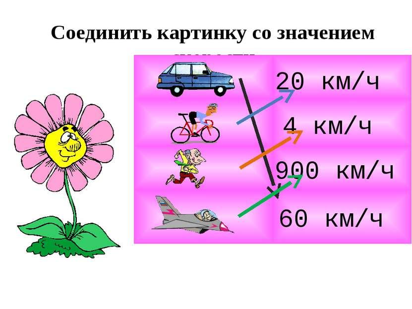 Соединить картинку со значением скорости 4 км/ч 20 км/ч 900 км/ч 60 км/ч