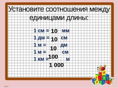 Установите соотношения между единицами длины: 1 см = мм 1 дм = см 1 м = дм 1 ...