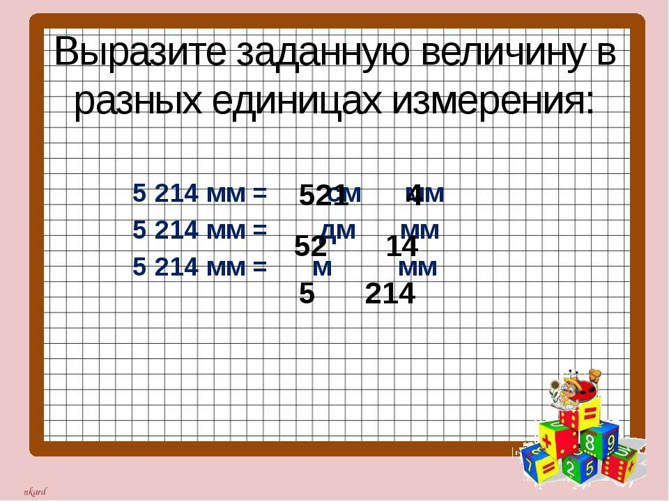 Выразите заданную величину в разных единицах измерения: 5 214 мм = см мм 5 21...