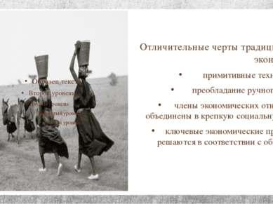 Отличительные черты традиционной экономики: примитивные технологии; преоблада...