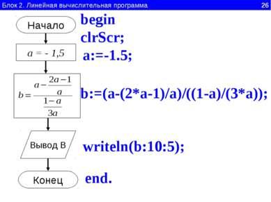Блок 2. Линейная вычислительная программа 26 Начало а = - 1,5 Вывод B Конец a...