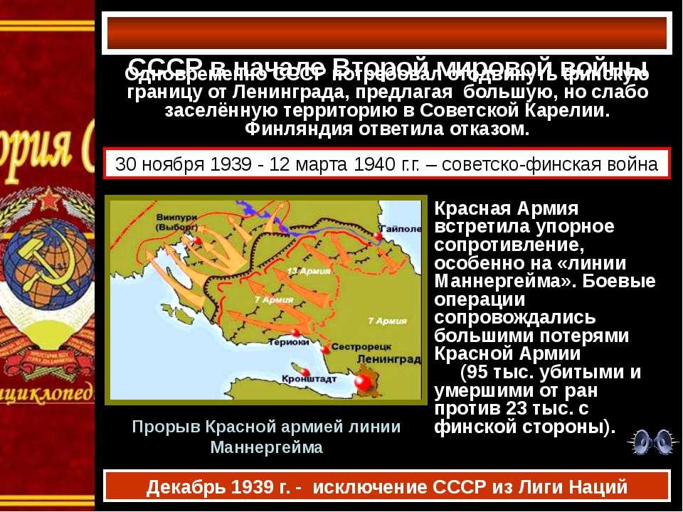СССР в начале Второй мировой войны Одновременно СССР потребовал отодвинуть фи...