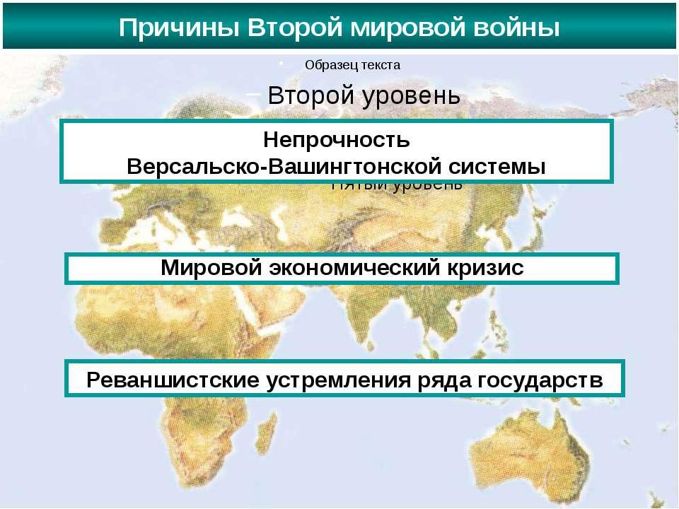 Причины Второй мировой войны Непрочность Версальско-Вашингтонской системы Мир...