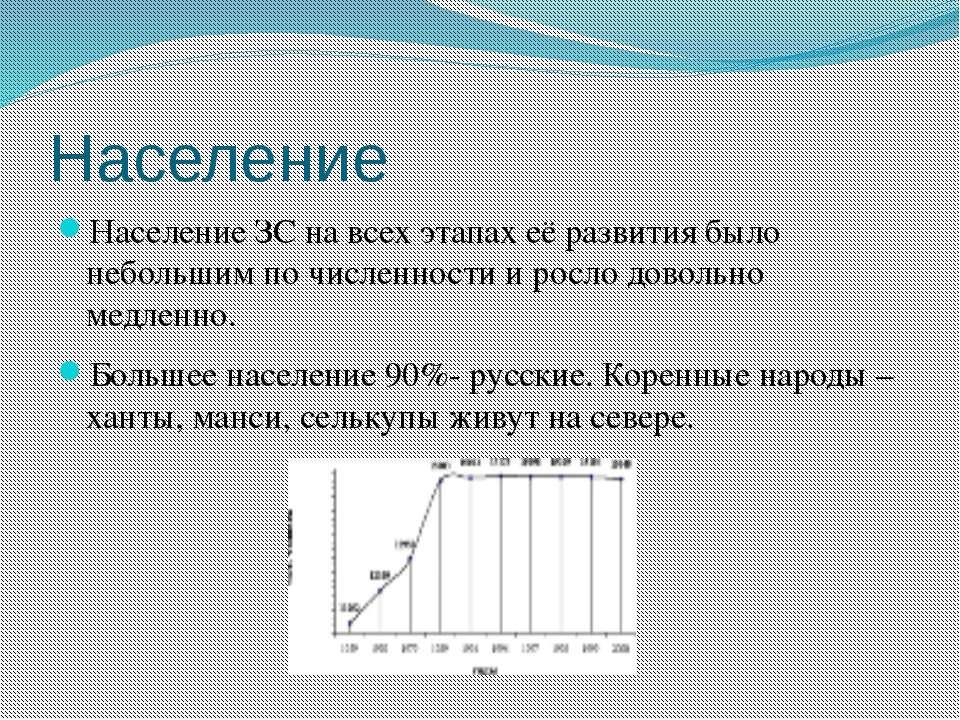 Население Население ЗС на всех этапах её развития было небольшим по численнос...