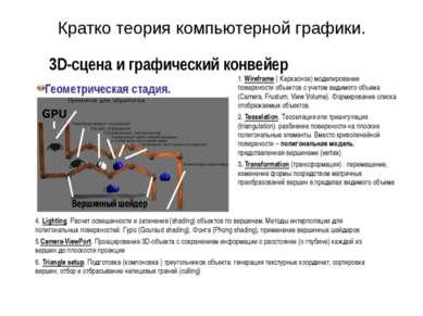 3D-сцена и графический конвейер Геометрическая стадия. 1. Wireframe ( Каркасн...