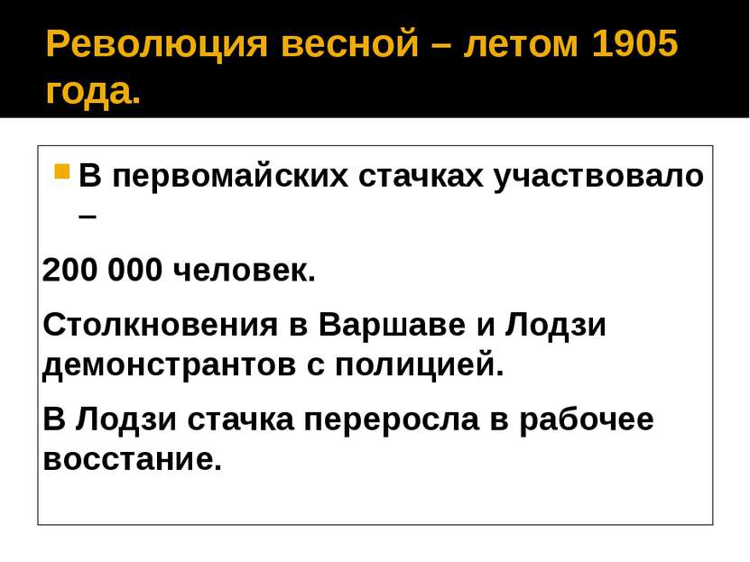 Революция весной – летом 1905 года. В первомайских стачках участвовало – 200 ...