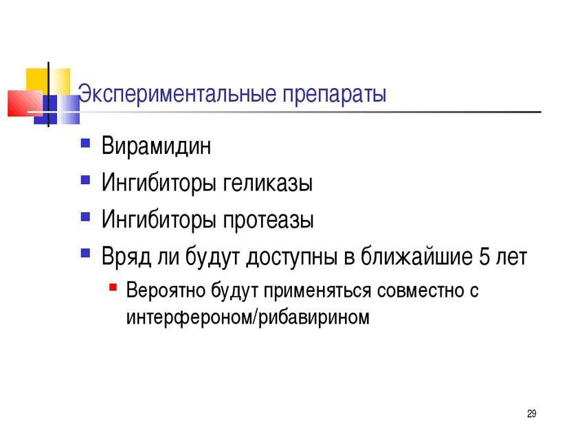 * Экспериментальные препараты Вирамидин Ингибиторы геликазы Ингибиторы протеа...