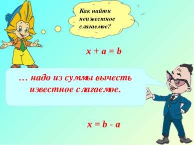 Как найти неизвестное слагаемое? х + а = b … надо из суммы вычесть известное ...