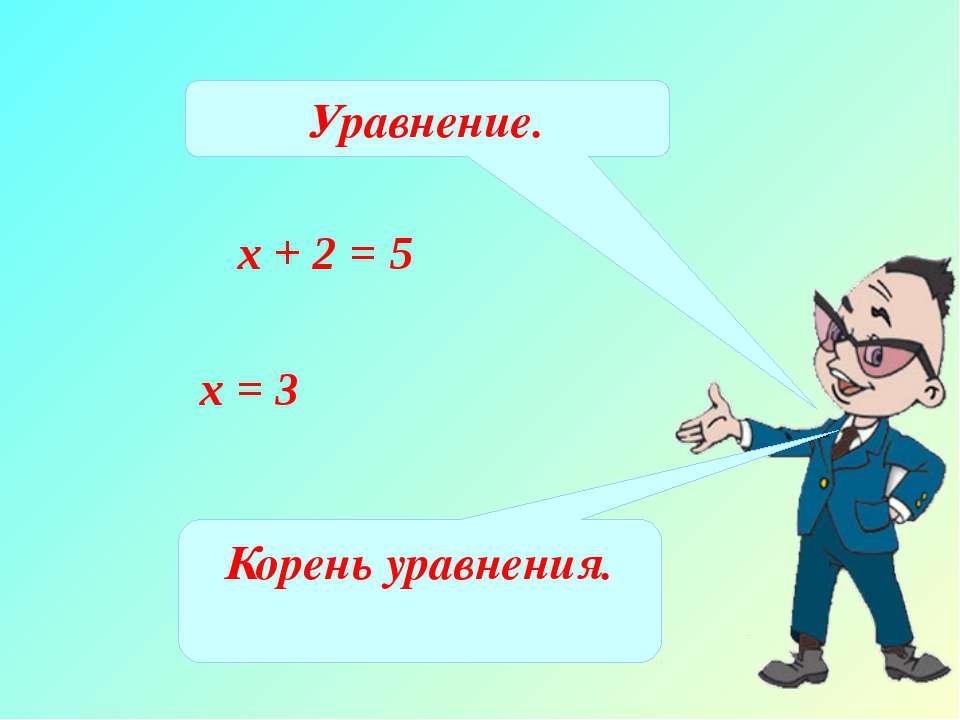х + 2 = 5 х = 3 Уравнение. Корень уравнения.