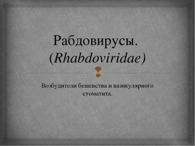 Рабдовирусы. (Rhabdoviridae) Возбудители бешенства и вазикулярного стоматита.