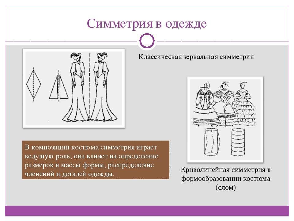Симметрия в одежде Классическая зеркальная симметрия Криволинейная симметрия ...