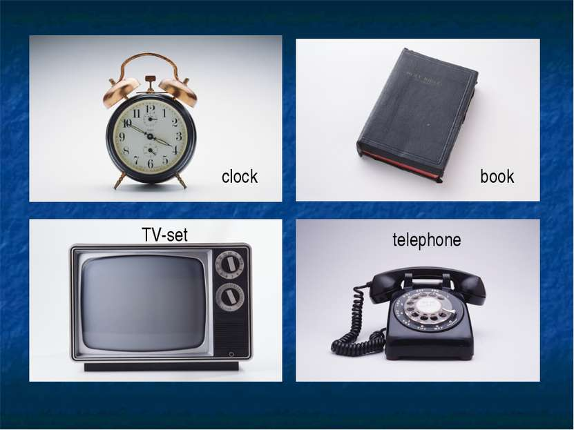 clock book TV-set telephone