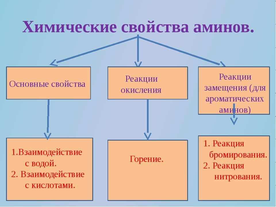 Химические свойства аминов. Основные свойства Реакции окисления Реакции замещ...