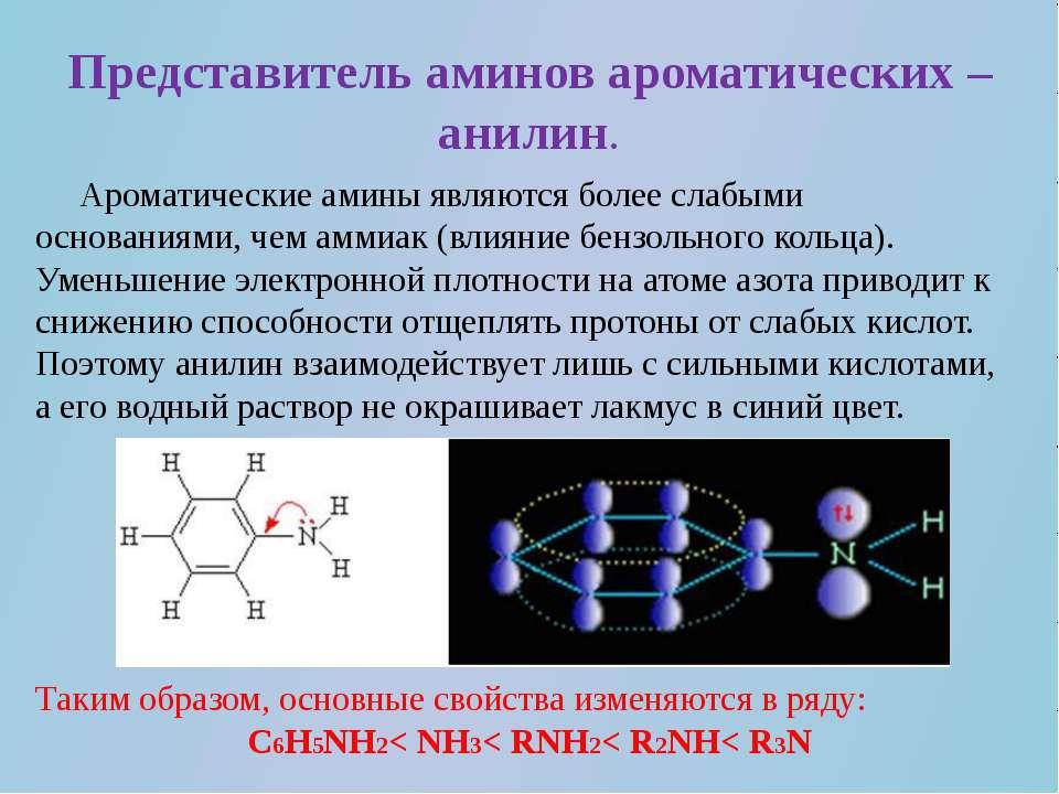 Представитель аминов ароматических – анилин. Ароматические амины являются бол...