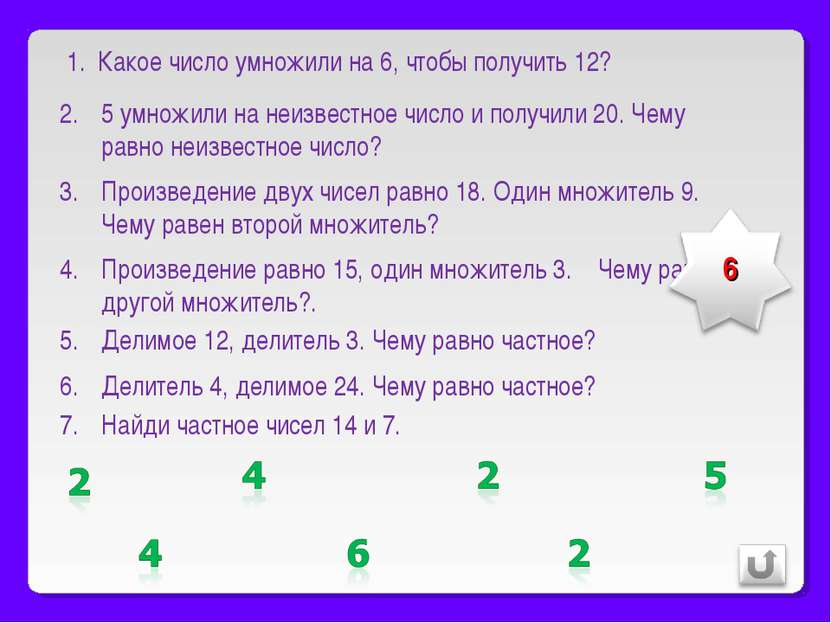 Какое число умножили на 6, чтобы получить 12? 5 умножили на неизвестное число...