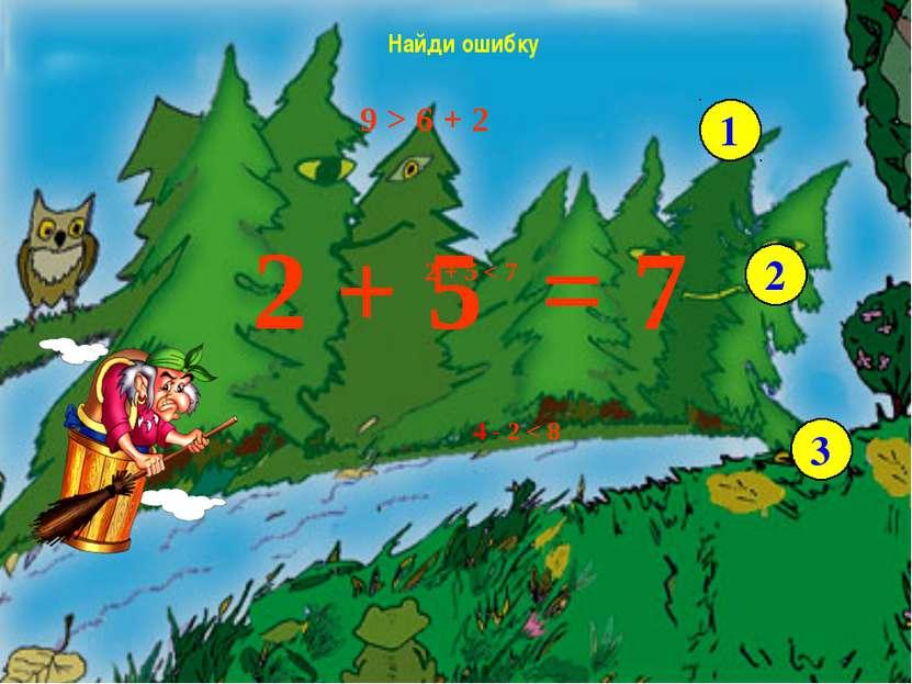 9 > 6 + 2 2 + 5 < 7 4 - 2 < 8 Найди ошибку 1 2 3 2 + 5 7 = - Возьмите числово...