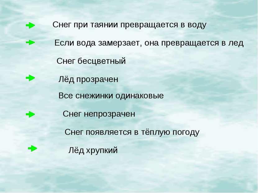 Снег при таянии превращается в воду Если вода замерзает, она превращается в л...