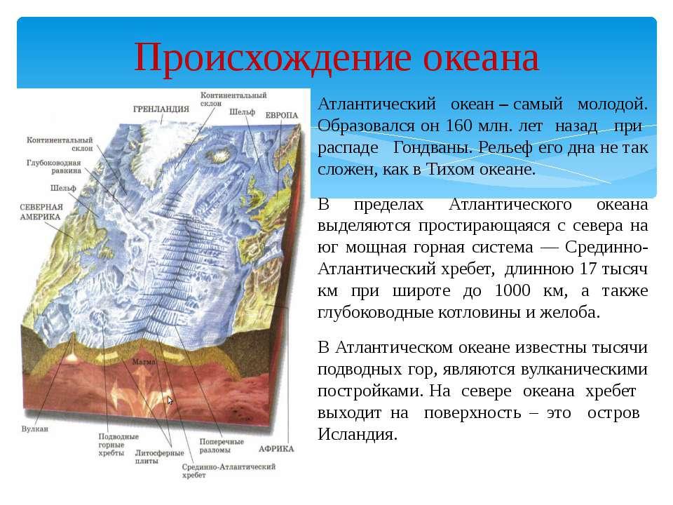 Происхождение океана Атлантический океан – самый молодой. Образовался он 160 ...