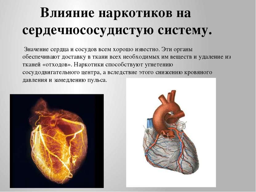 Влияние наркотиков на сердечнососудистую систему. Значение сердца и сосудов в...