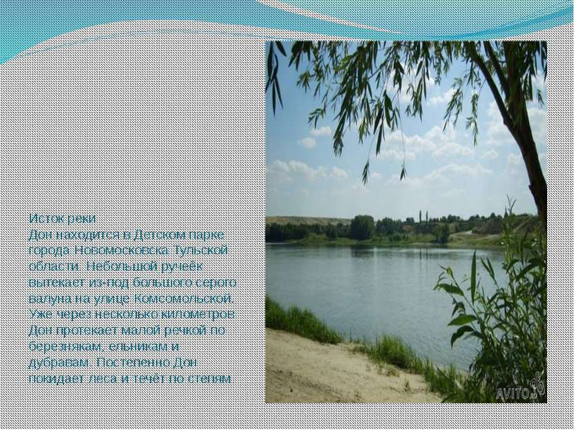 Исток реки Дон находится в Детском парке города Новомосковска Тульской област...