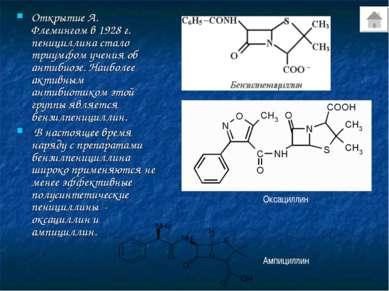 Открытие А. Флемингом в 1928 г. пенициллина стало триумфом учения об антибиоз...