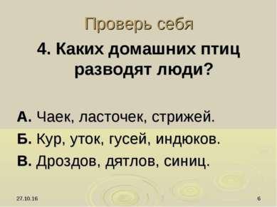 * * Проверь себя 4. Каких домашних птиц разводят люди? А. Чаек, ласточек, стр...