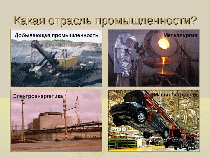 * * Какая отрасль промышленности? Добывающая промышленность Металлургия Элект...