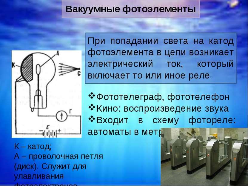 К – катод; А – проволочная петля (диск). Служит для улавливания фотоэлектроно...