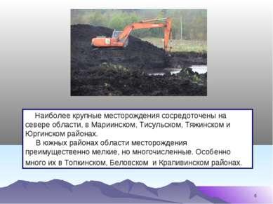 * Наиболее крупные месторождения сосредоточены на севере области, в Мариинско...