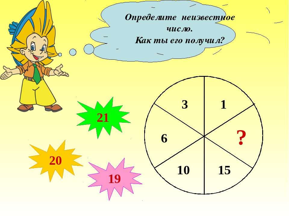 Определите неизвестное число. Как ты его получил? ? 20 21 19 1 3 6 10 15