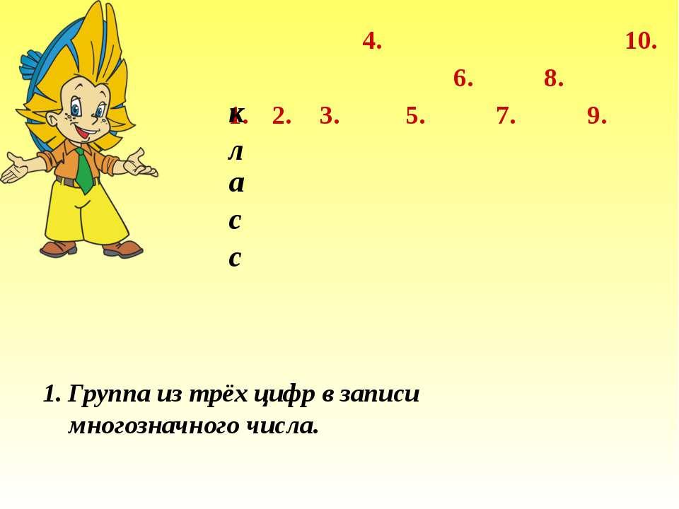 1. 2. 3. 4. 7. 6. 5. 8. 9. 10. Группа из трёх цифр в записи многозначного чис...