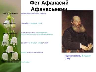 Фет Афанасий Афанасьевич Портрет работы И. Репина (1882) Имя при рождении: Аф...