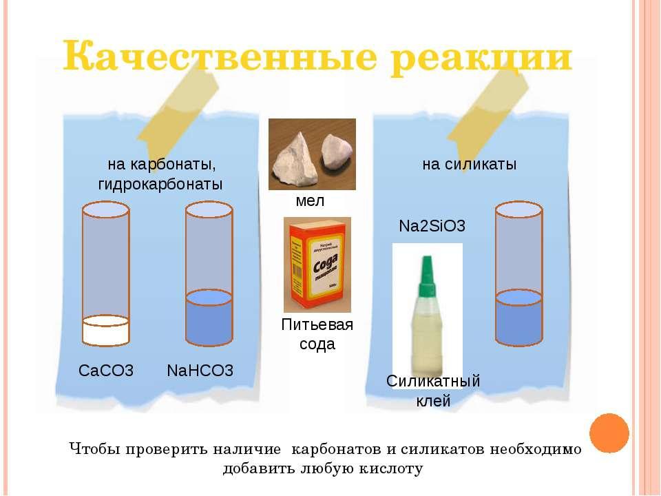 Качественные реакции Чтобы проверить наличие карбонатов и силикатов необходим...