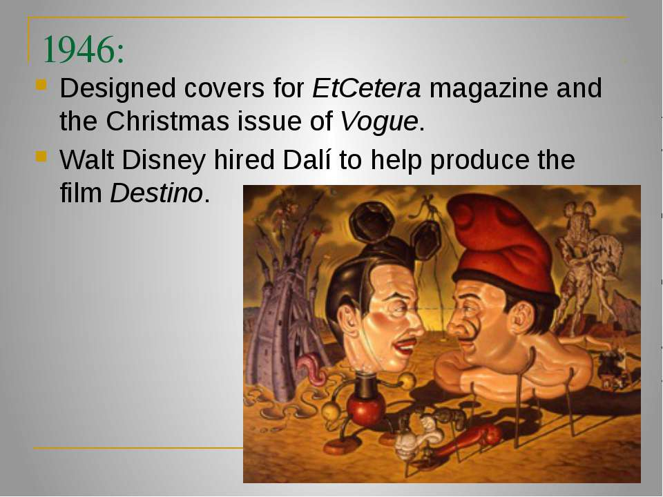 1946: Designed covers for EtCetera magazine and the Christmas issue of Vogue....